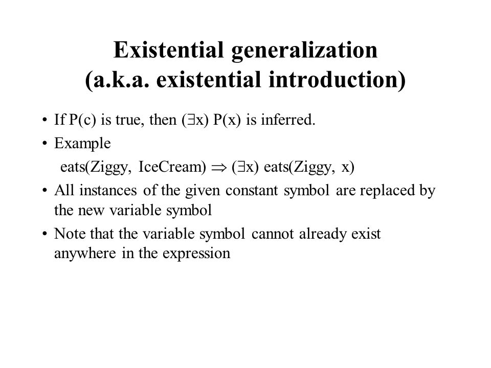Existential generalization (a.k.a. existential introduction)