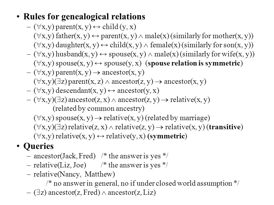 Rules for genealogical relations