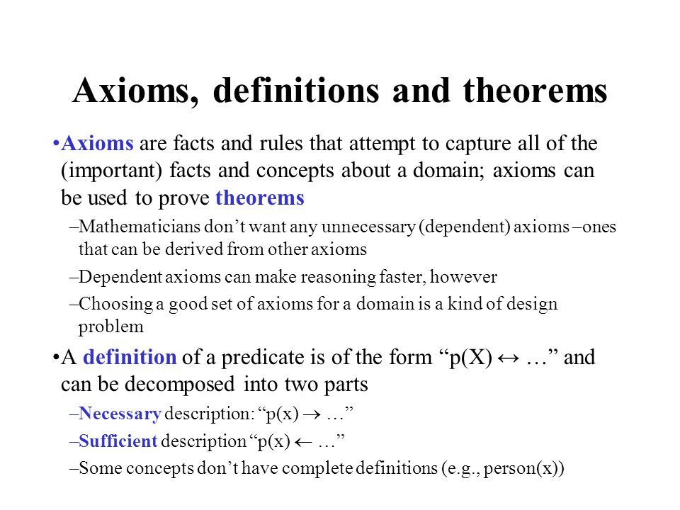 Axioms, definitions and theorems