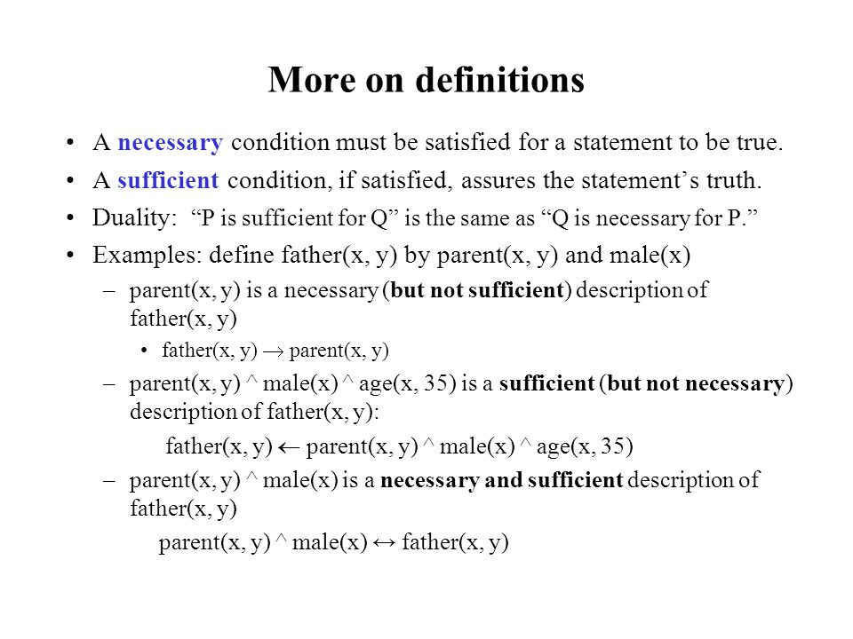 More on definitions A necessary condition must be satisfied for a statement to be true.