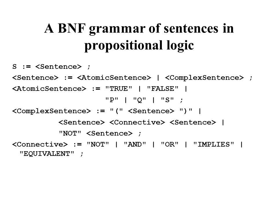 A BNF grammar of sentences in propositional logic