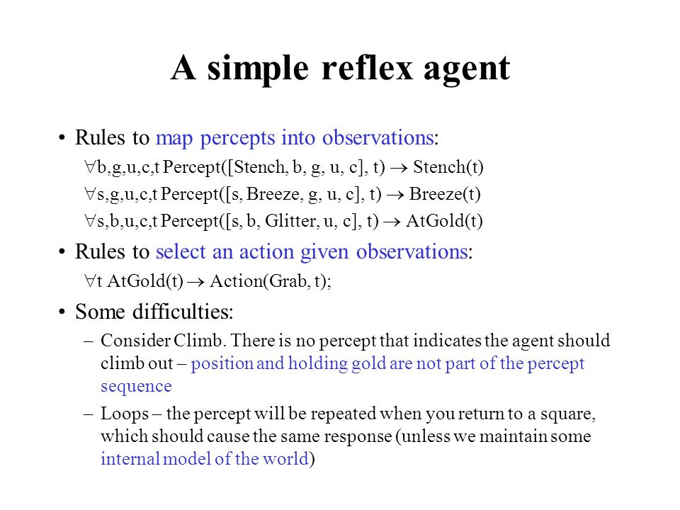 A simple reflex agent Rules to map percepts into observations: