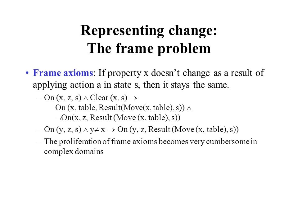 Representing change: The frame problem
