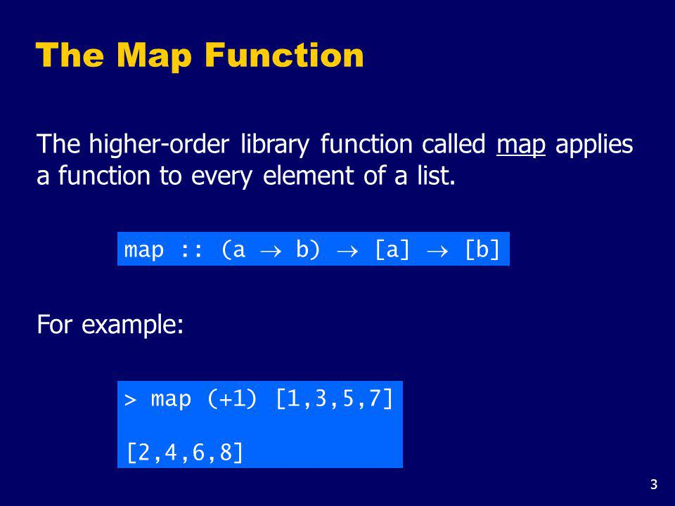 The map function can be defined in a particularly simple manner using a list comprehension: