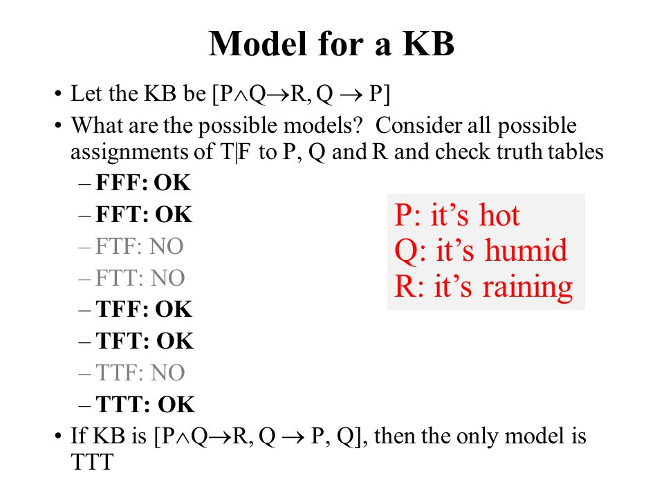 Model for a KB P: it's hot Q: it's humid R: it's raining