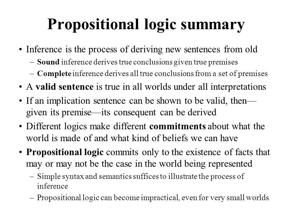 Propositional logic summary