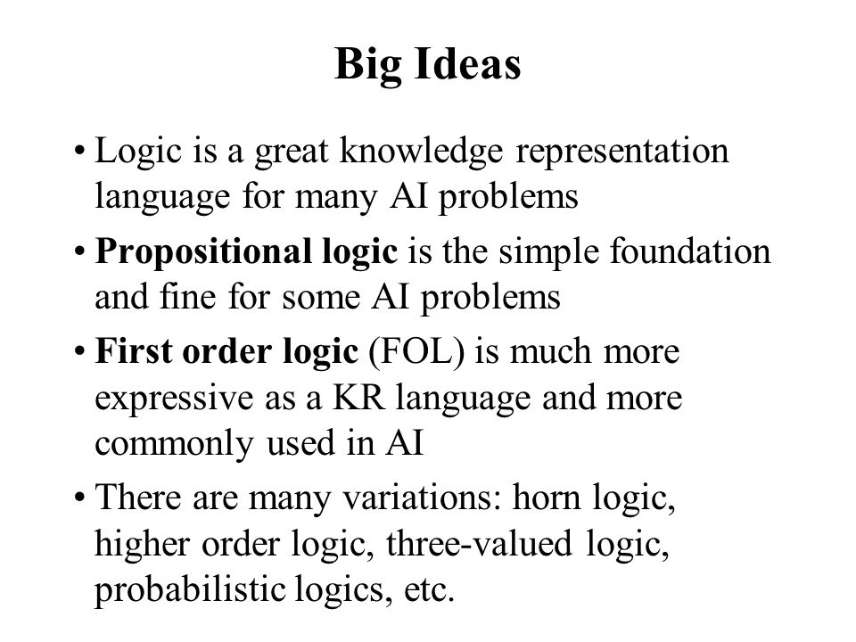 Big Ideas Logic is a great knowledge representation language for many AI problems.