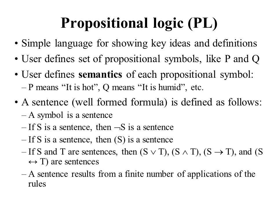 Propositional logic (PL)