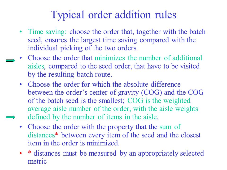 Typical order addition rules