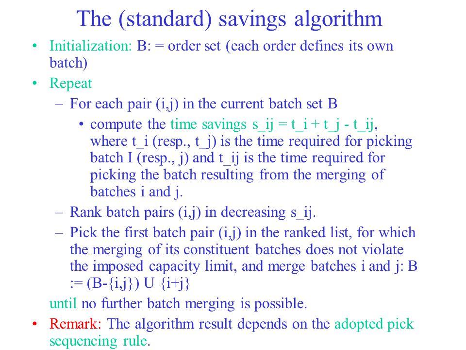 The (standard) savings algorithm