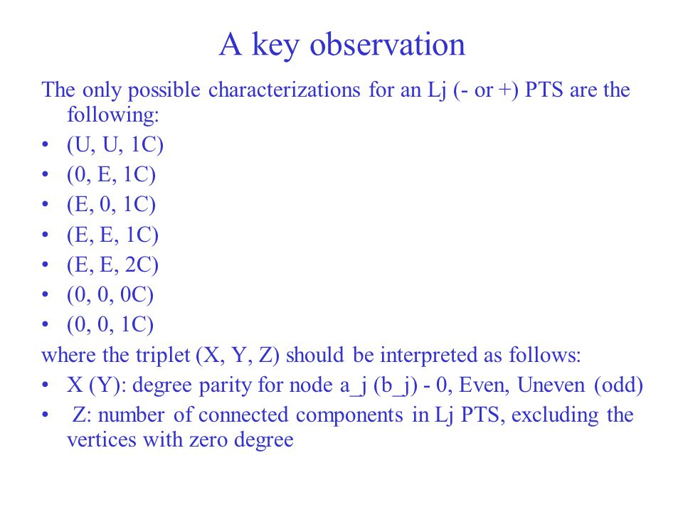 A key observation The only possible characterizations for an Lj (- or +) PTS are the following: (U, U, 1C)