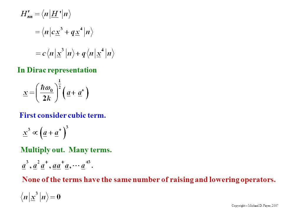 In Dirac representation