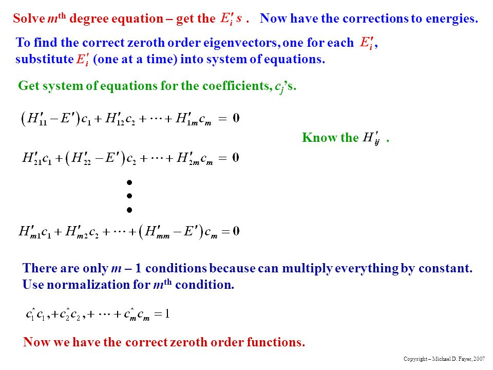 Get system of equations for the coefficients, cj's.