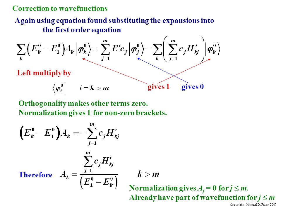 Correction to wavefunctions