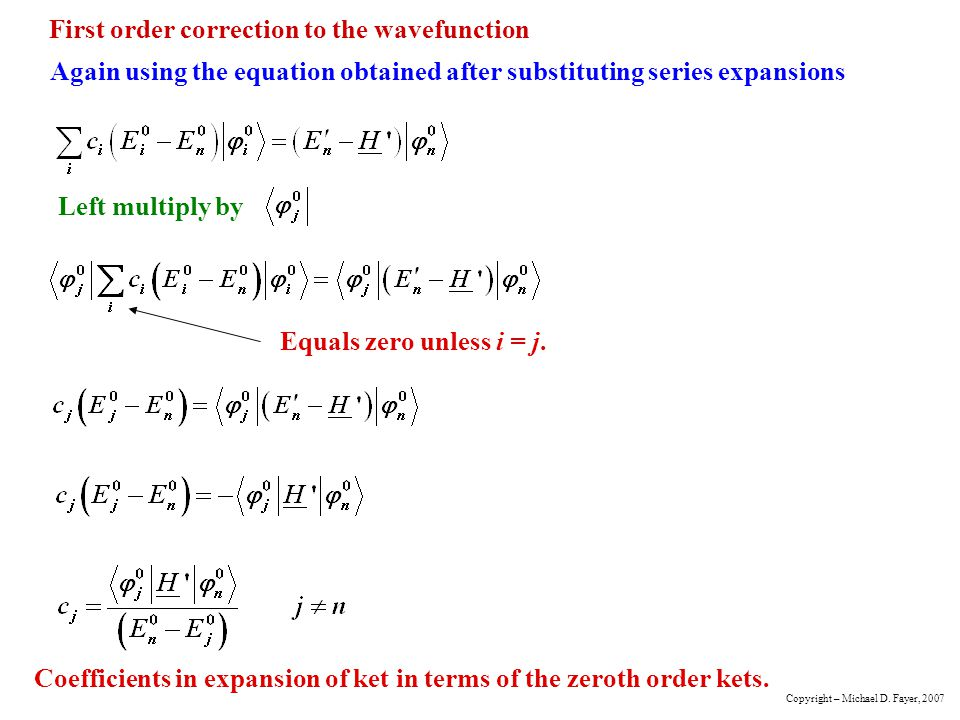 First order correction to the wavefunction