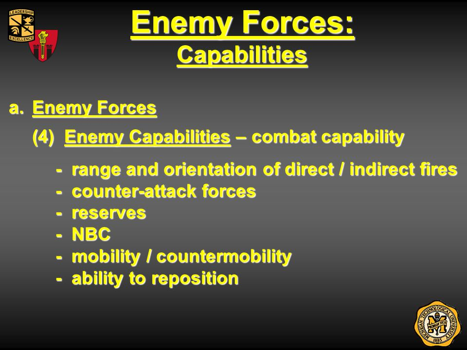 Enemy Forces: Capabilities Enemy Forces