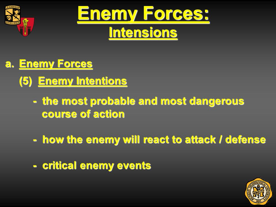 Enemy Forces: Intensions Enemy Forces (5) Enemy Intentions