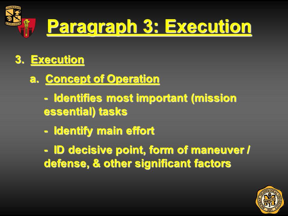 Paragraph 3: Execution 3. Execution a. Concept of Operation