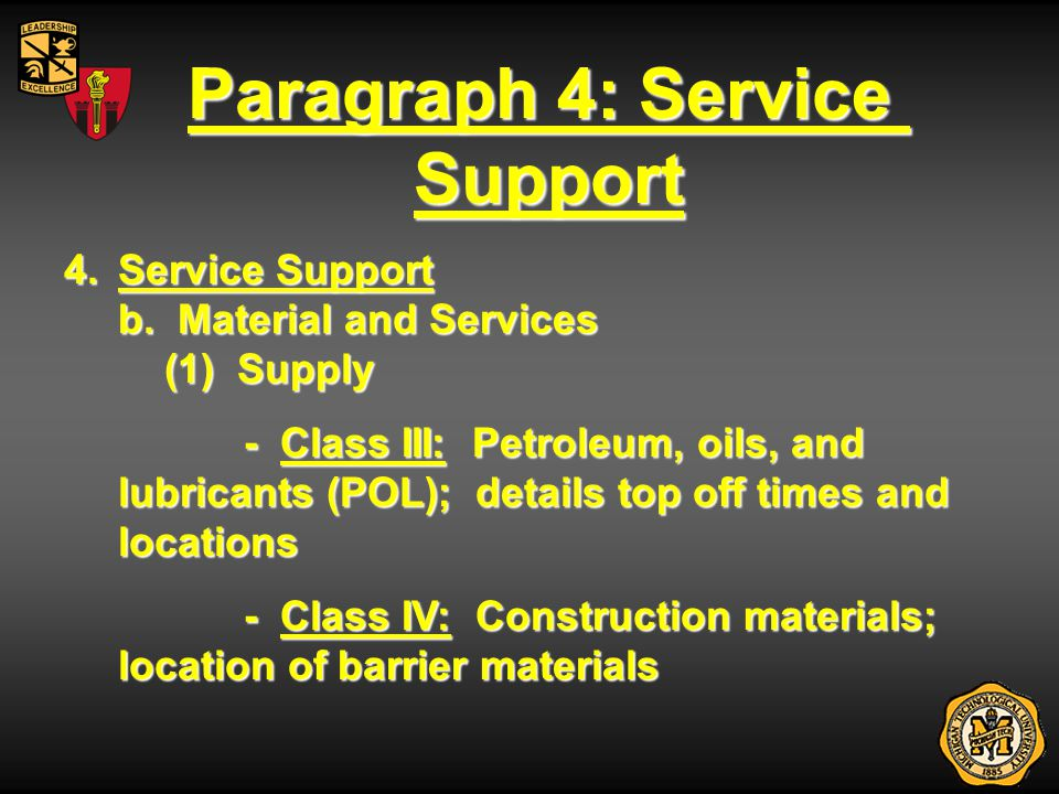 Paragraph 4: Service Support