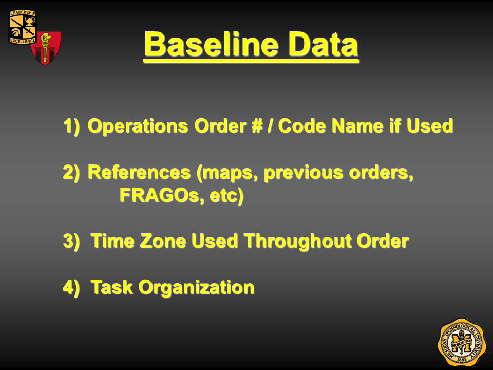 Baseline Data Operations Order # / Code Name if Used