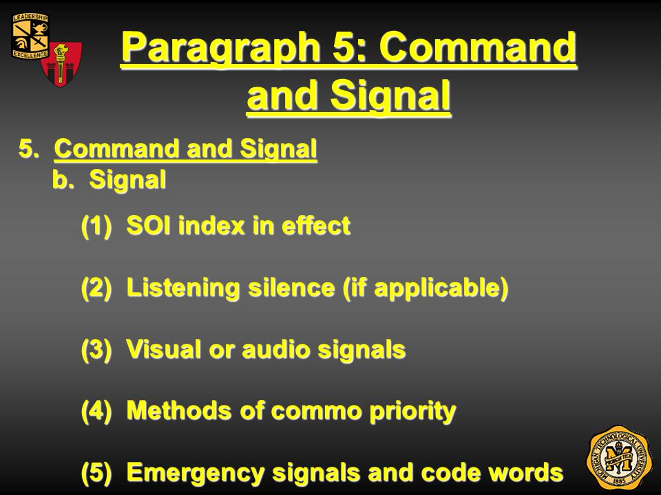 Paragraph 5: Command and Signal