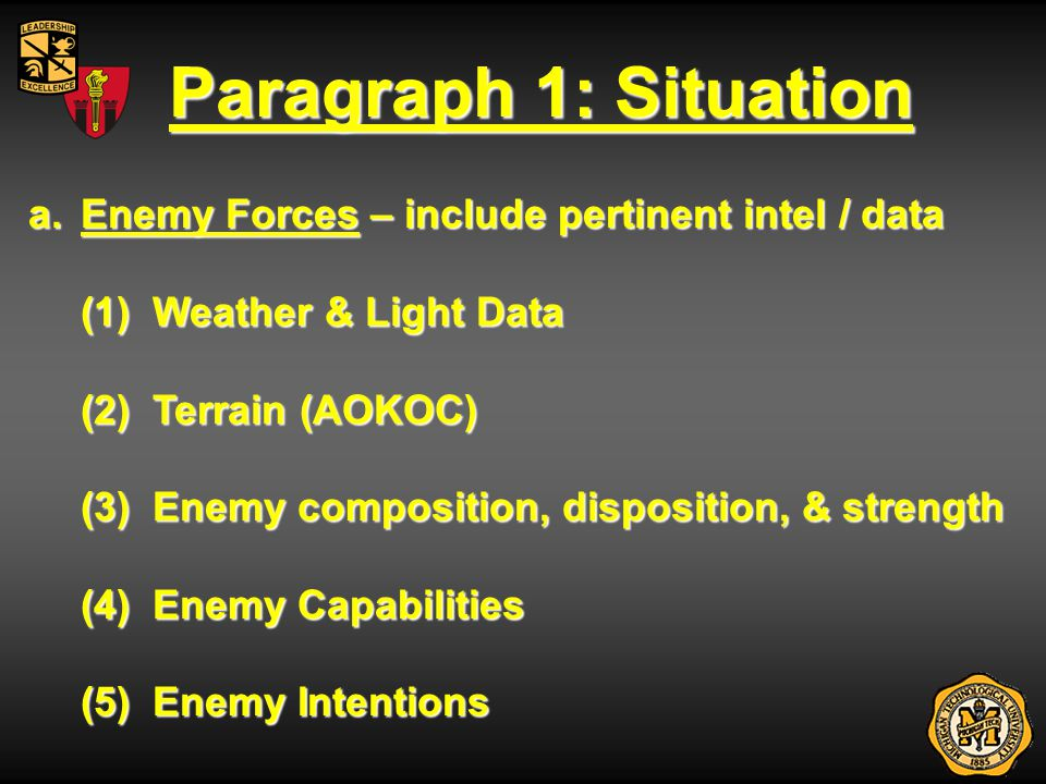 Paragraph 1: Situation Enemy Forces – include pertinent intel / data