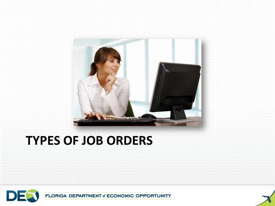 Types of job orders