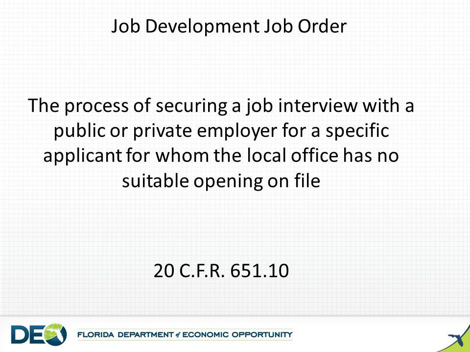 Job Development Job Order