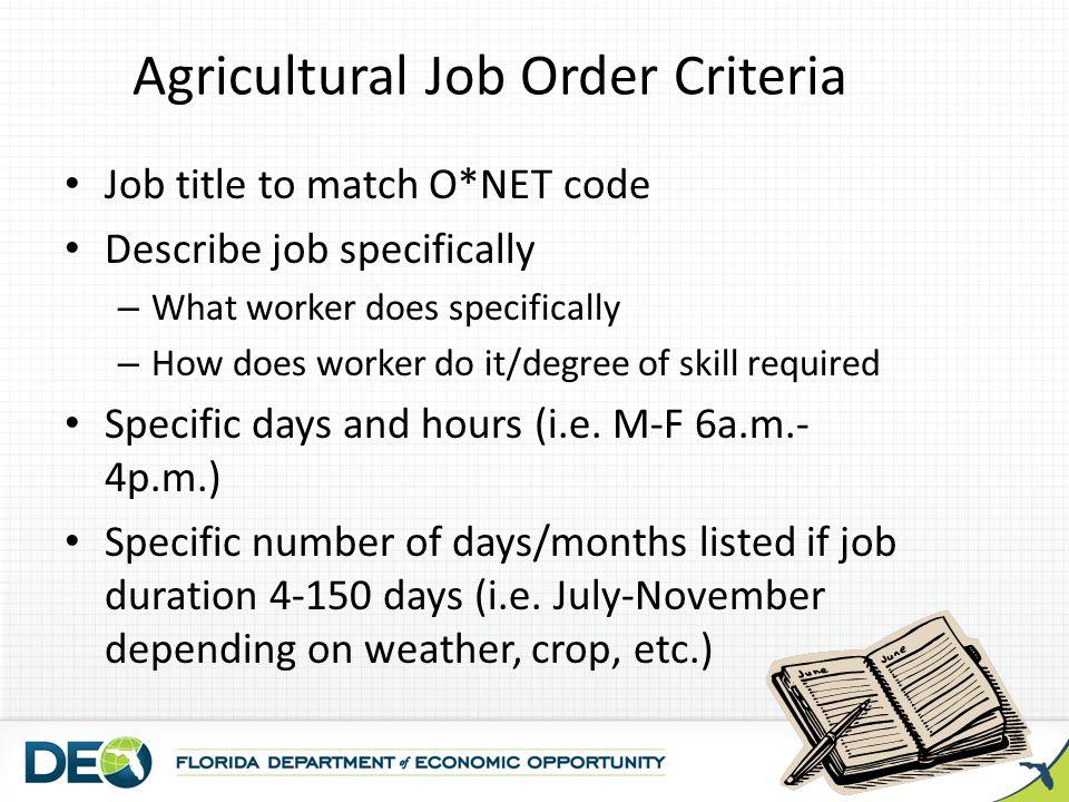 Agricultural Job Order Criteria