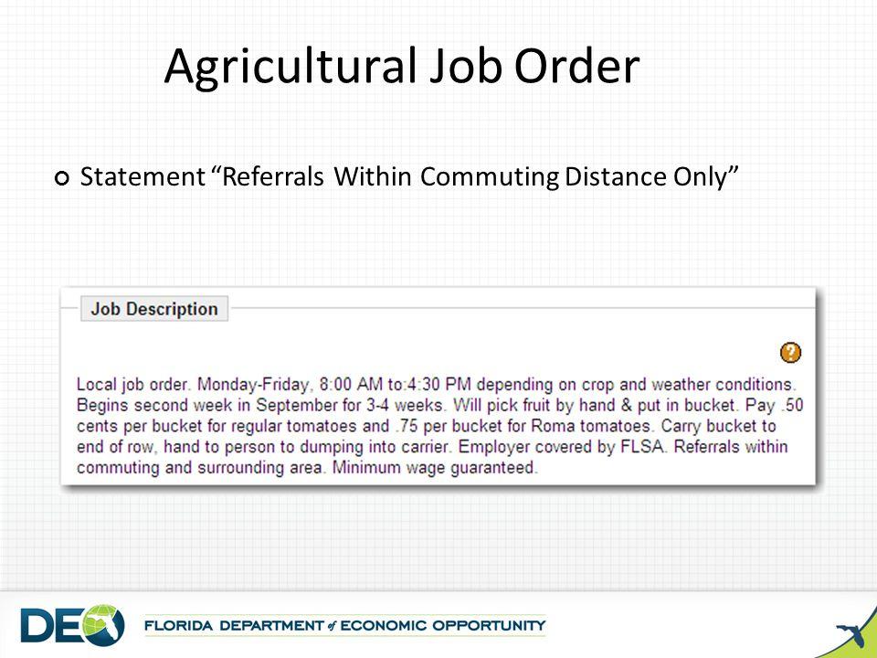 Agricultural Job Order