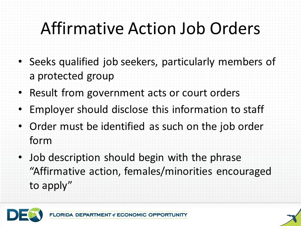 Affirmative Action Job Orders