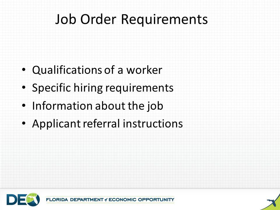 Job Order Requirements