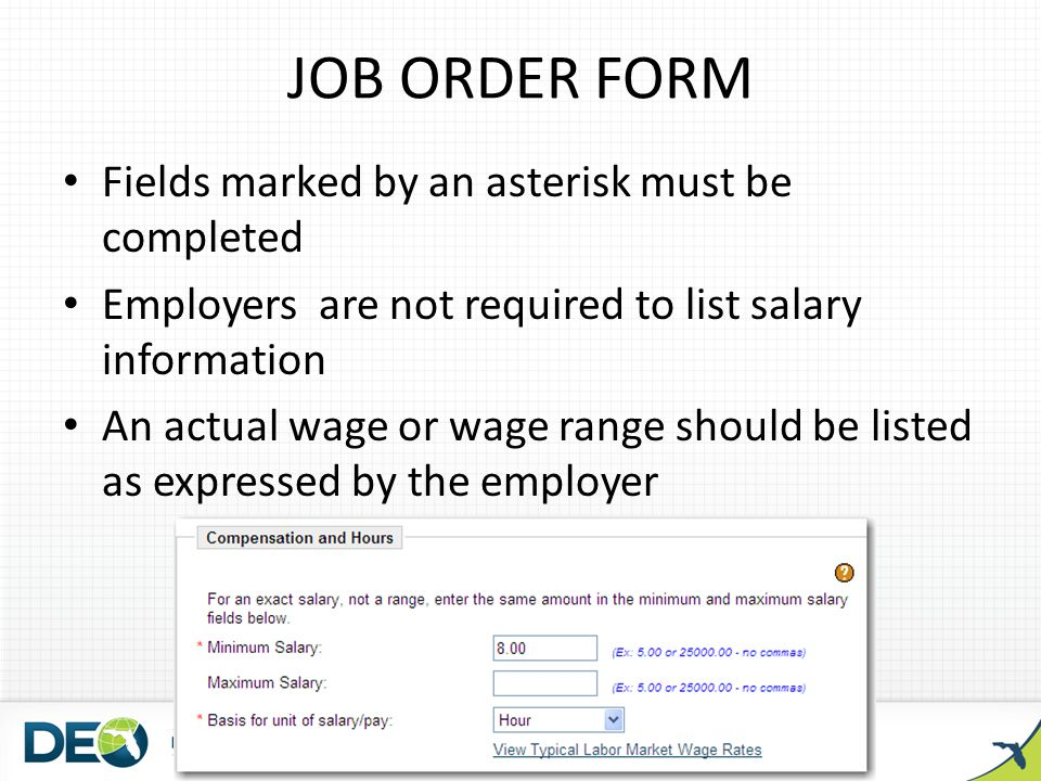 JOB ORDER FORM Fields marked by an asterisk must be completed