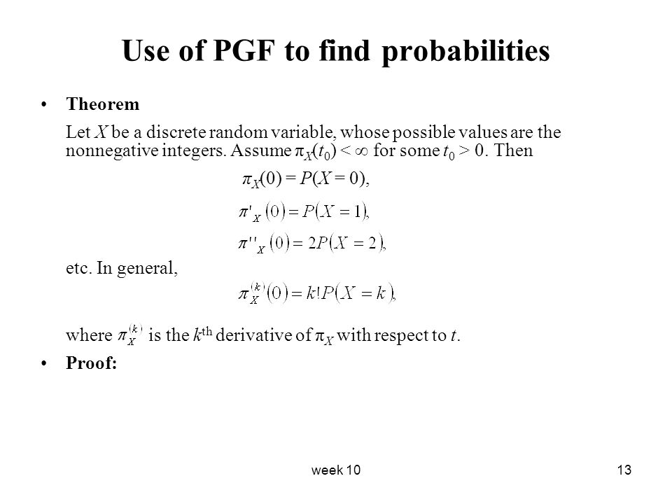 Use of PGF to find probabilities
