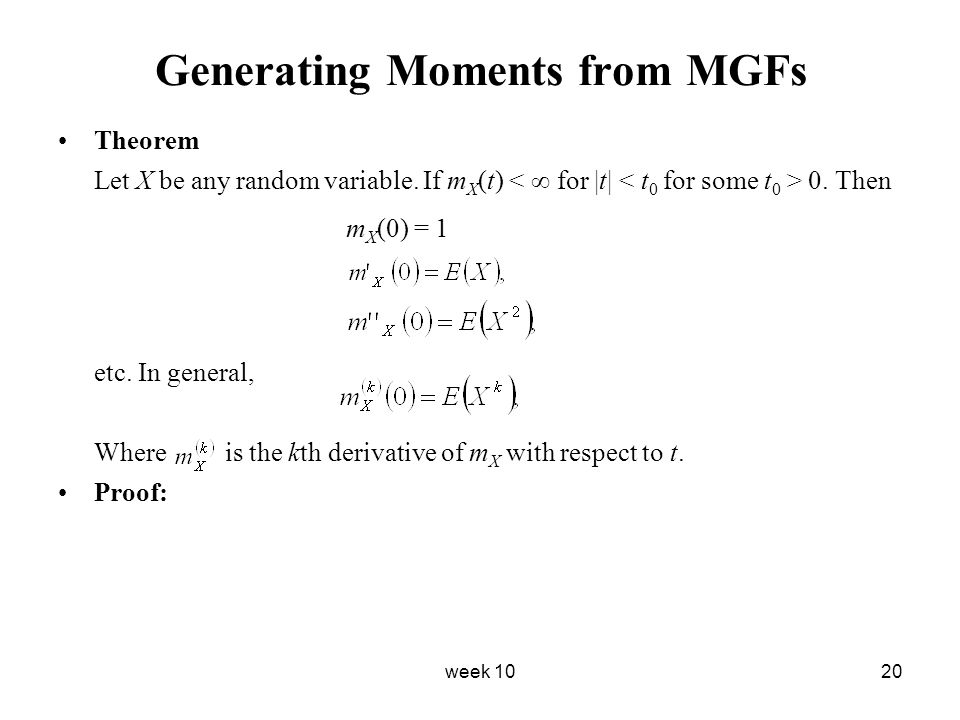 Generating Moments from MGFs