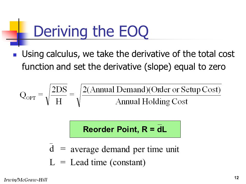 average demand per time unit