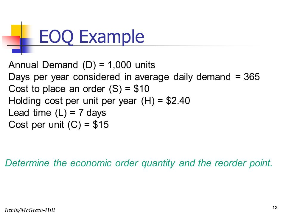EOQ Example Annual Demand (D) = 1,000 units
