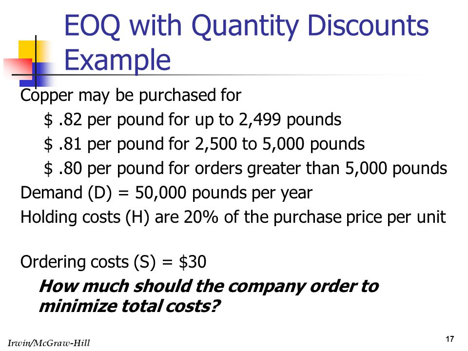 EOQ with Quantity Discounts Example