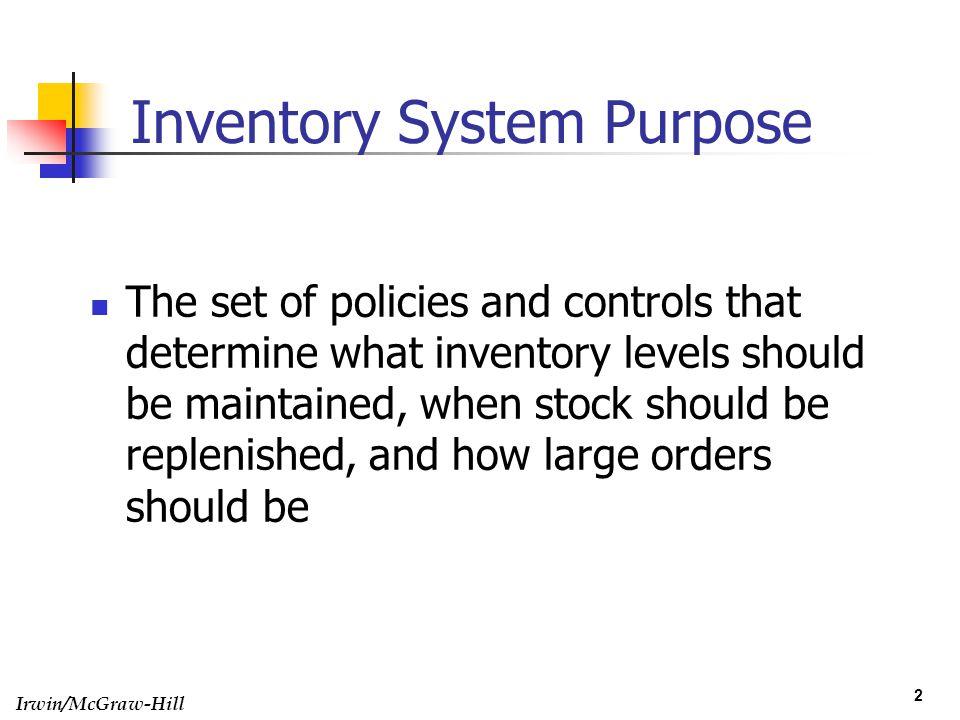 Inventory System Purpose