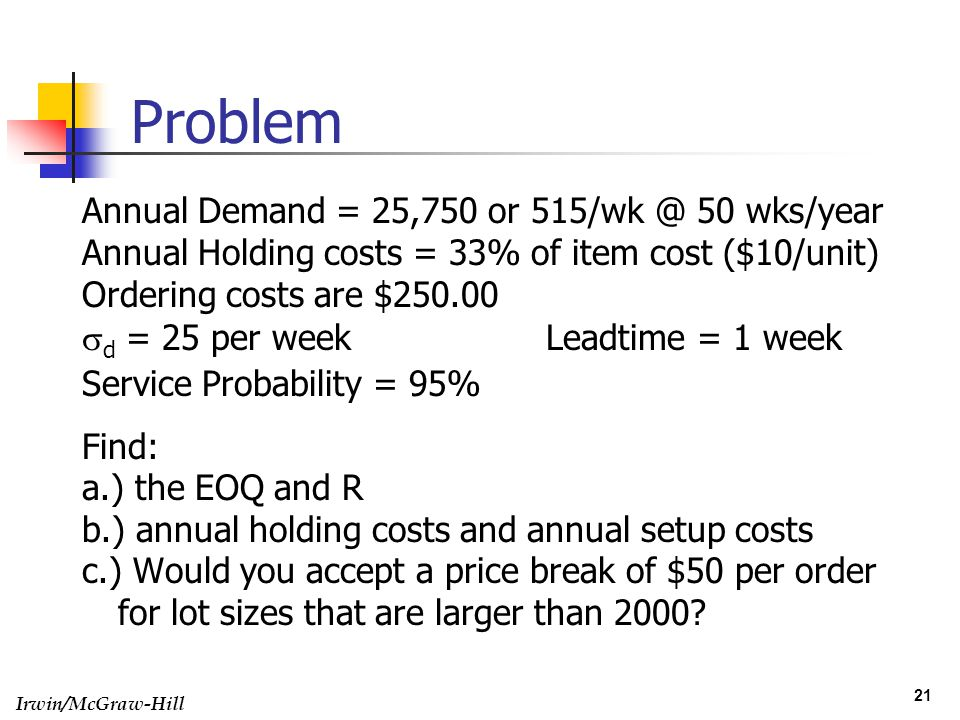 Problem Annual Demand = 25,750 or 515/wk @ 50 wks/year