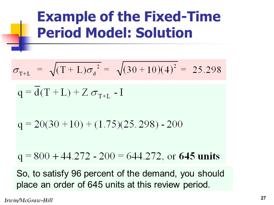 Example of the Fixed-Time Period Model: Solution