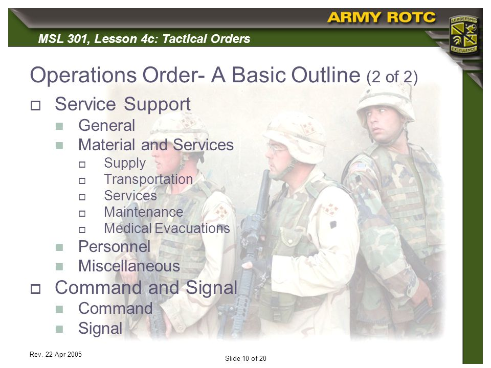 Operations Order- A Basic Outline (2 of 2)