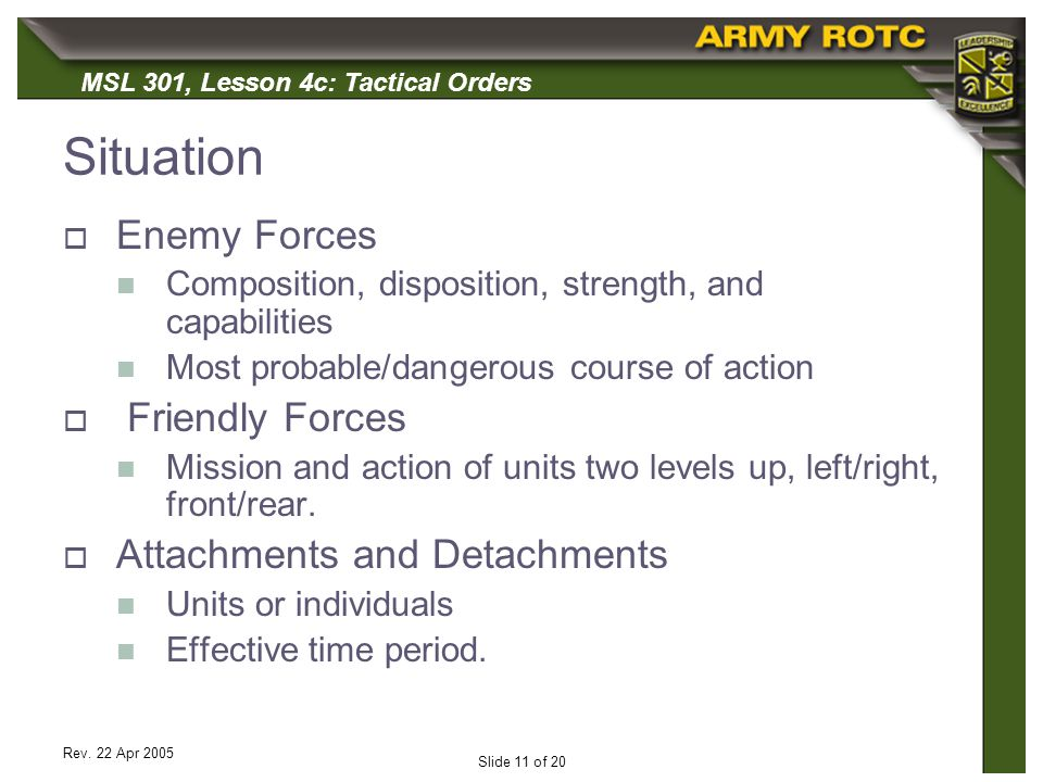 Situation Enemy Forces Friendly Forces Attachments and Detachments