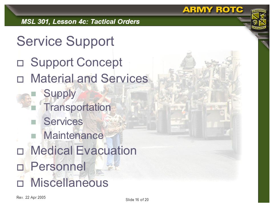 Service Support Support Concept Material and Services