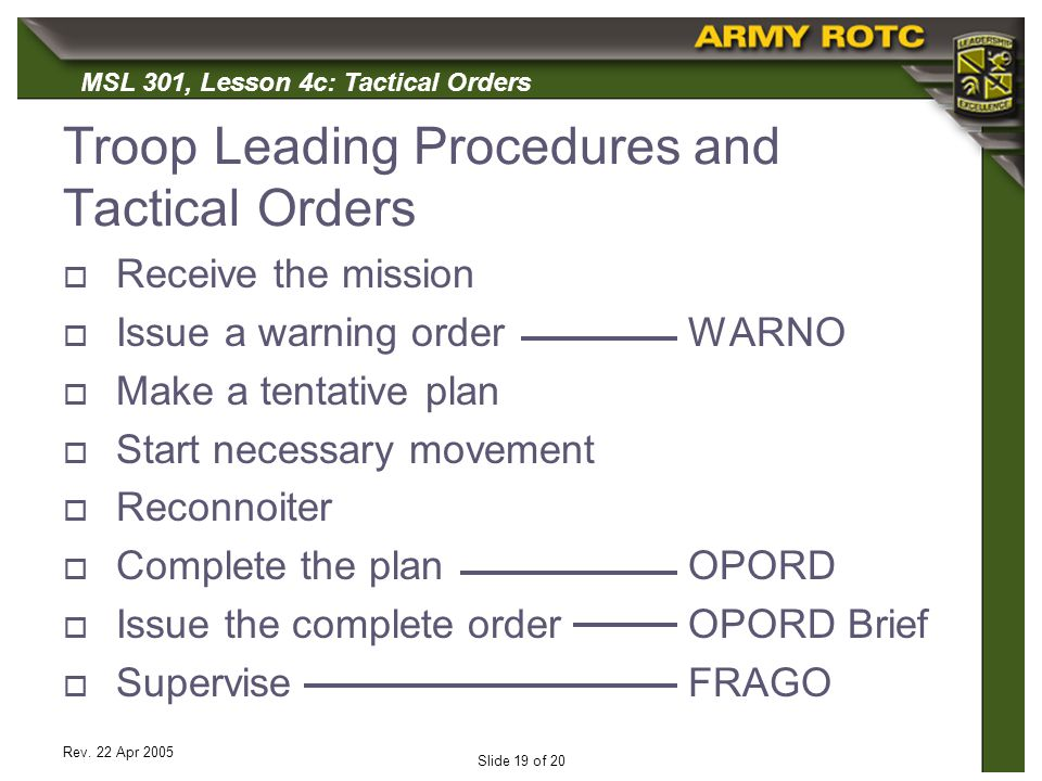 Troop Leading Procedures and Tactical Orders