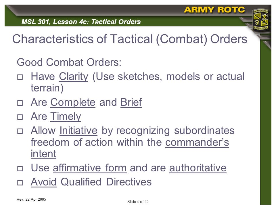 Characteristics of Tactical (Combat) Orders