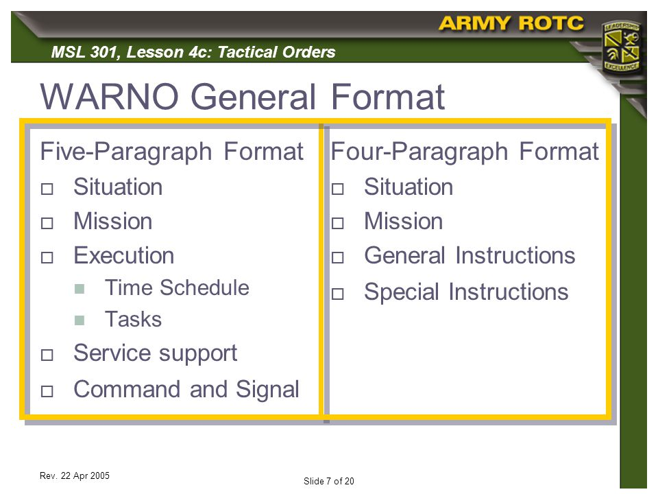 WARNO General Format Five-Paragraph Format Four-Paragraph Format