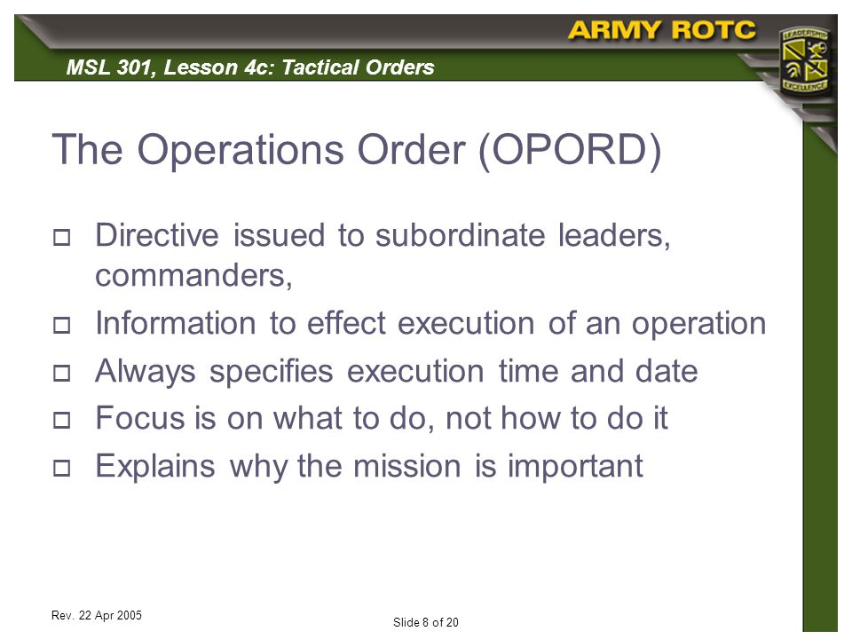 The Operations Order (OPORD)