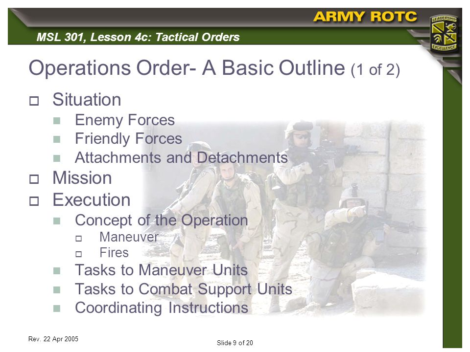 Operations Order- A Basic Outline (1 of 2)