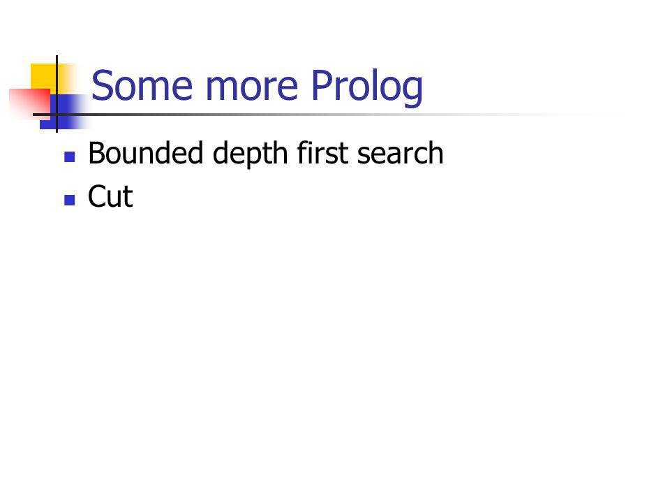 Some more Prolog Bounded depth first search Cut